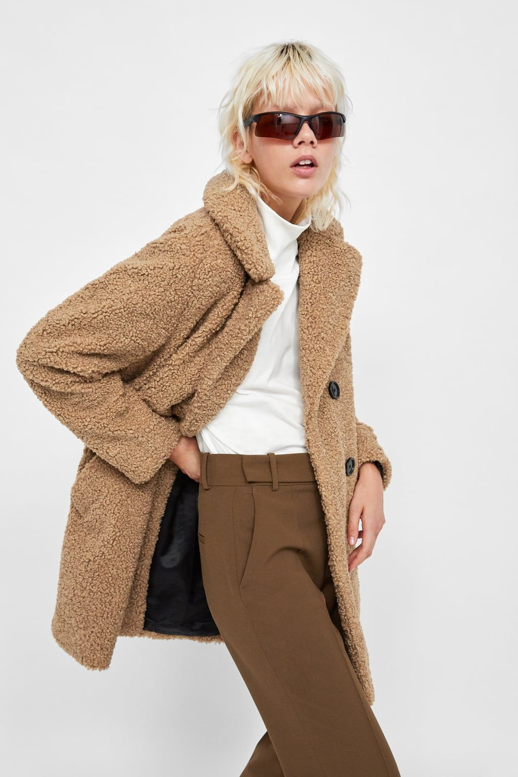 13fabdee Shearling textured coat in 2019 | The Best of Zara | Faux shearling ...