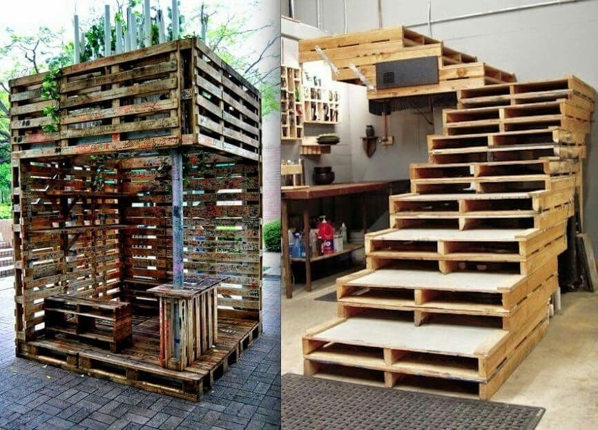 Pallets stairs and gazebo pallet furniture garden and for Wood pallet gazebo