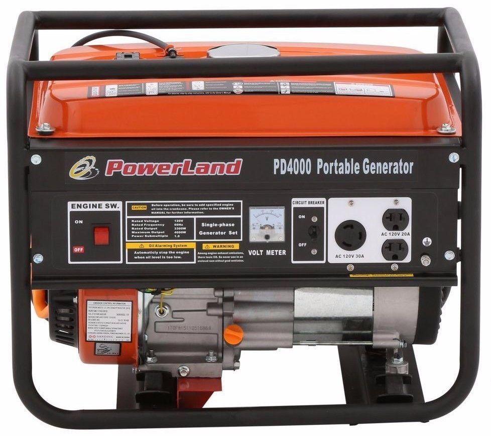 POWERLAND PD4000 4,000 Watt PORTABLE GAS GENERATOR 7.5 HP ...