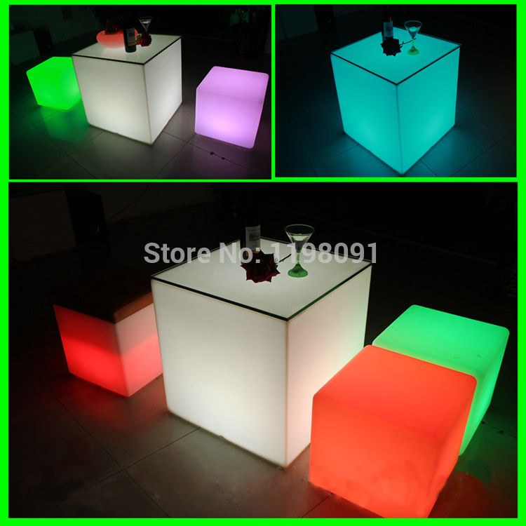 D 505050cm Led Luminous Cubic Stool Seat Home Outdoor