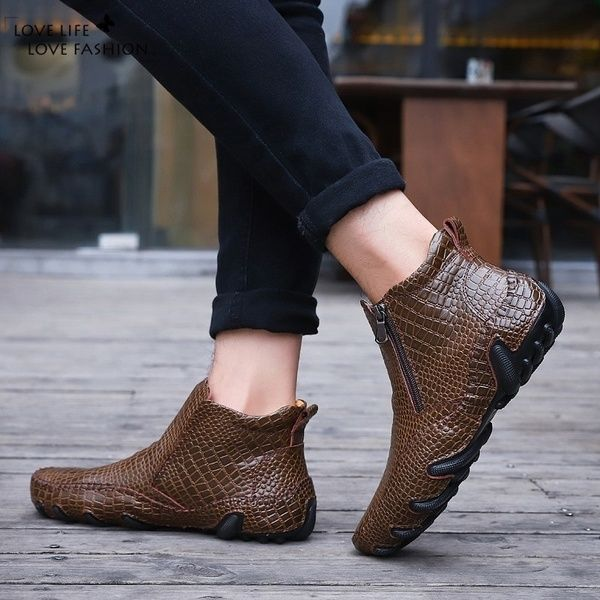 [LIEF] Men's Fashion Alligator Shoes Work Shoes Ankle Boots Business Casual Leather Shoes Plus Size 3847 is part of Ankle boots fashion, Casual leather shoes, Flat leather boots, Mens boots fashion, Casual shoes, Chelsea ankle boots -  Quantity when you placed the order, we can not change those after the order was shipped out  2  If you love our products, hope can get 5 stars positive feedback from you  That would be really great for our store! Thank you for your kind understanding Note 1Please choose size according to your foot length  2If your foot width is thicker or wider than normal,please One size bigger  Department NameAdult Item Typecasual shoes Size 3847 Color black, brown Outsole MaterialRubber Shoes TypeBasic Closure Type zipper Upper Material leather Pattern Type Printed leather(crocodile print) Function wear resistance Style Youth trend Occasion casual Process sewing  Season four season men's Shoe Size info EU 35   US 5 5     foot length 2222 5 CM   EU 36   US 6       foot length 22 523 CM  EU 37   US 6 5    foot length 2323 5 CM EU 38   US 7 5       foot length 23 524 Cm  EU 39   US 8    foot length 2424 5 CM  EU 40   US 8 5       foot length 24 525 CM  EU 41   US 9       foot length 2525 5 CM  EU 42   US 9 5    foot length 25 526 CM  EU 43   US 10    foot length 2626 5    CM  EU 44   US 10 5     foot length 26 527    CM  EU 45   US 11     foot length 27 528    CM   EU 46   US 12     foot length 2828 5    CM  EU 47   US 13     foot length 28 529    CM  More surprises, please enter the store Thank you, I wish you a happy shopping