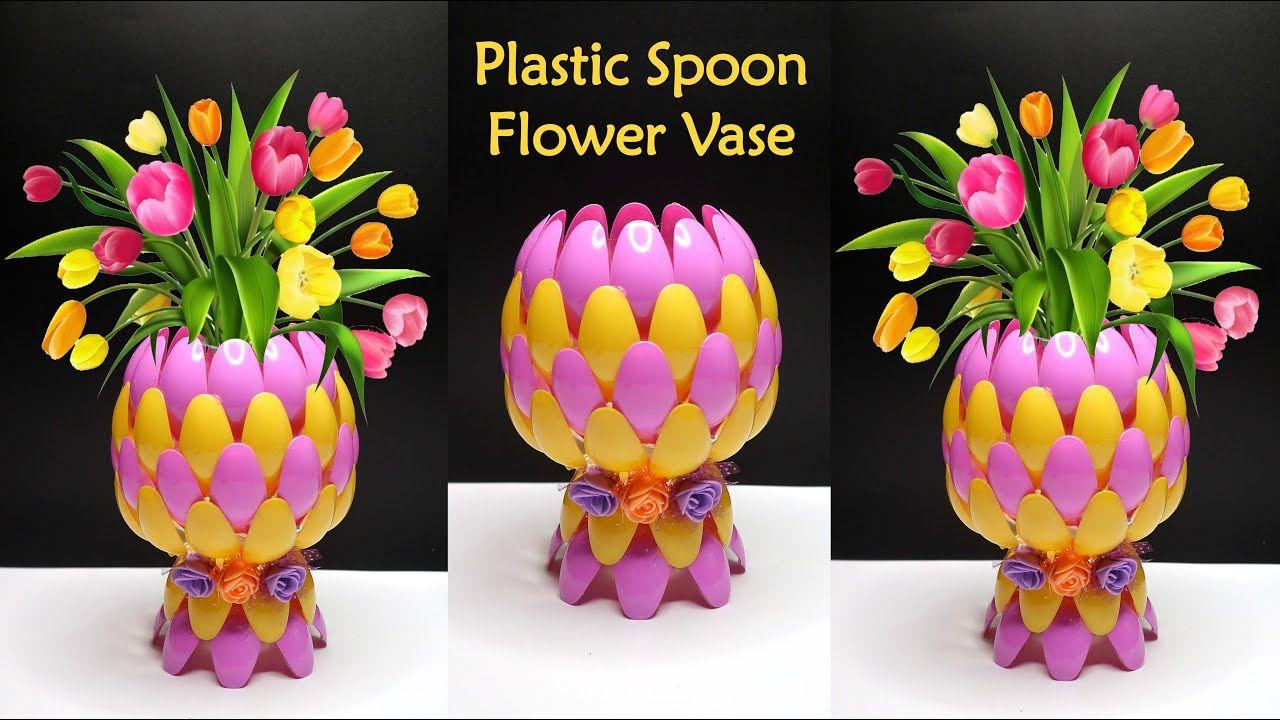 Ide Kreatif Vas Bunga Dari Sendok Plastik In 2020 Flower Vase