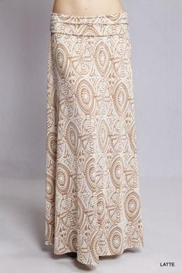 Miley Mocha Cream  Long Maxi Skirt