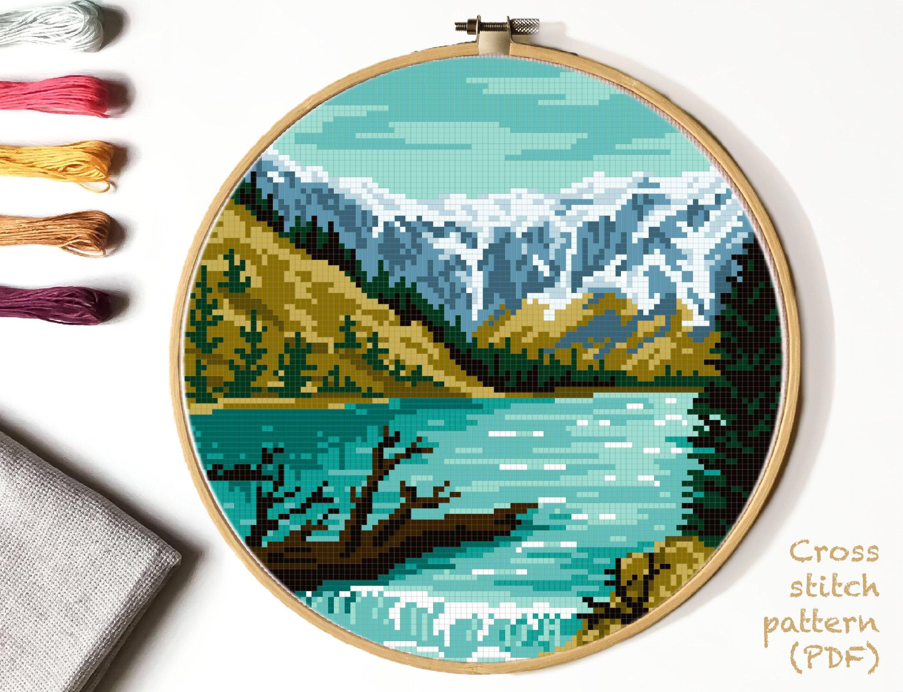 Glacier National Park Modern Cross Stitch Pattern Nature Counted