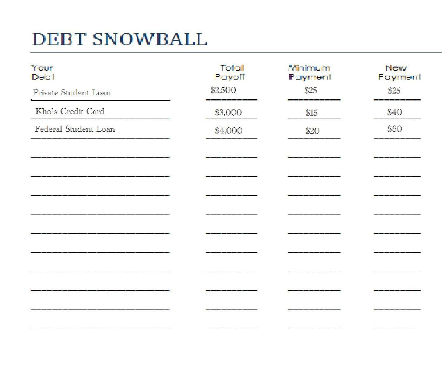 Printables Dave Ramsey Debt Snowball Worksheet worksheets debt snowball and on pinterest