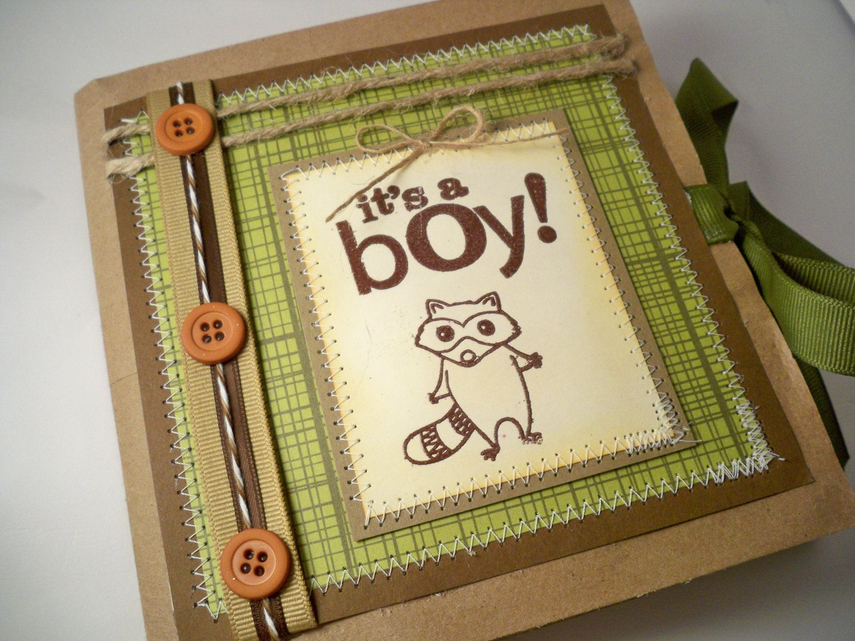 Scrapbook paper etsy - Woodland Baby Boy Scrapbook Pre Made Baby Book Mini Scrapbook Album Paper Bag Album