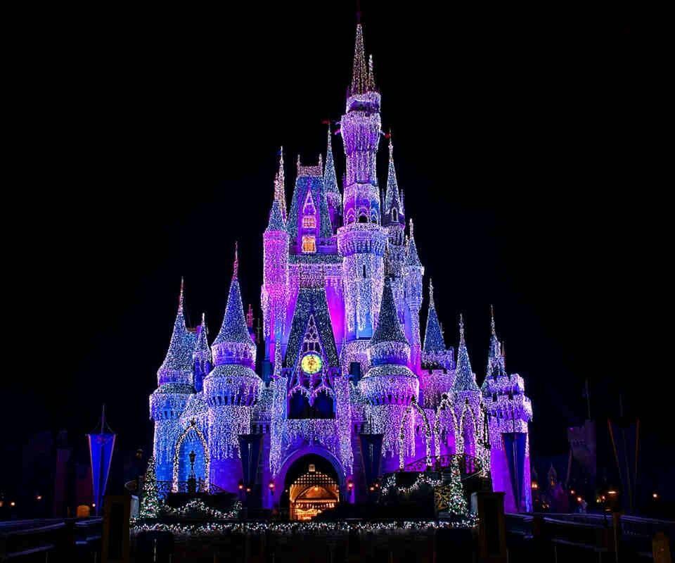 cinderella s castle lit up purple tv shows movies pinterest