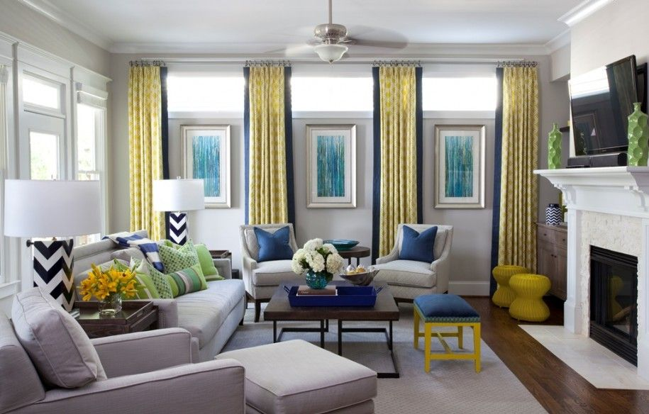 Super Modern Living Room Interior Design Ideas With Contemporary Teal Wall Pictures And Plain Yellow Vertical Curtain Overlooking Foamy Light Grey Sofa