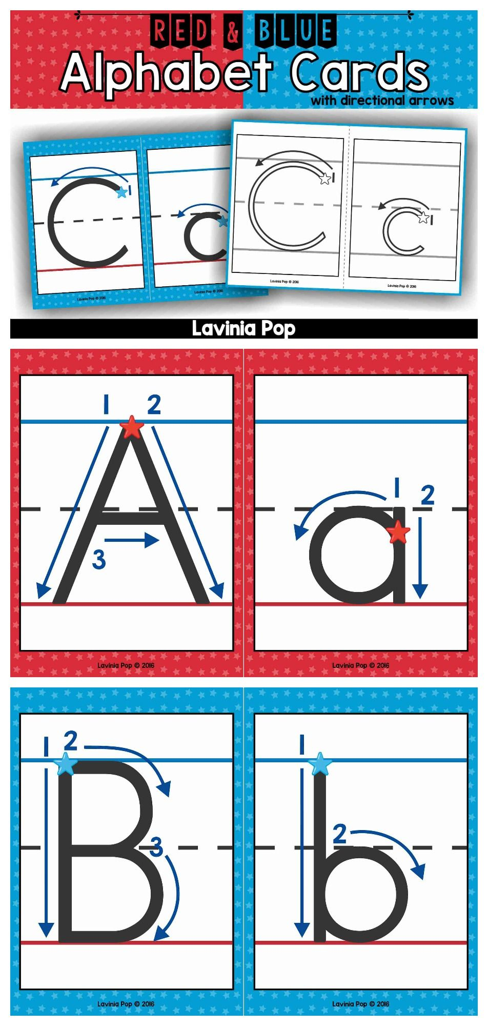 Alphabet Handwriting Cards with directional arrows - red vowels and ...