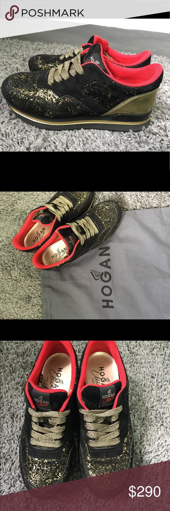 Hogan Club H222 Black Gold Glitter Sneakers   Glitter sneakers ...