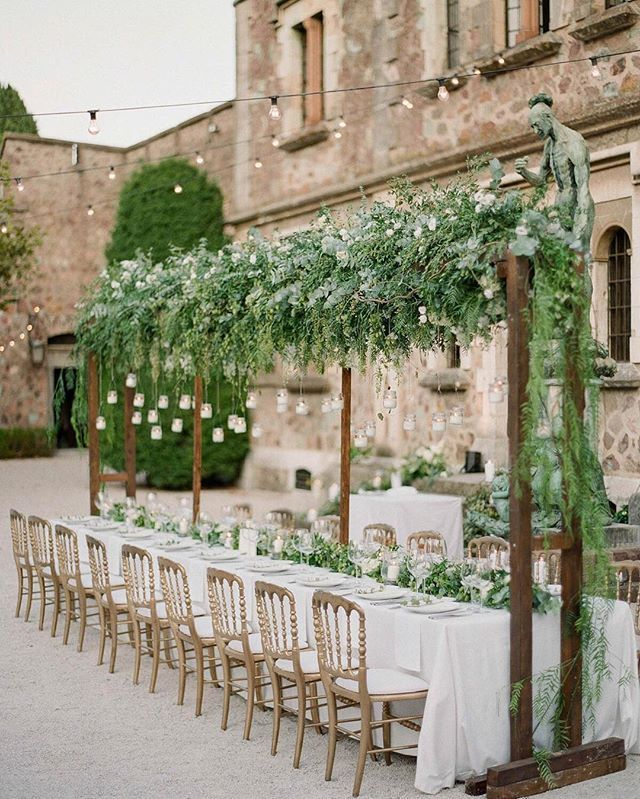 """20 Amazing Hanging Greenery Floral Wedding Decorations For: """"One Of My Favorite Ever Table Setups! Amazing Design By"""