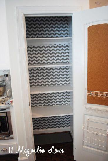 Organized Pantry With Chevron Shelf Paper Background