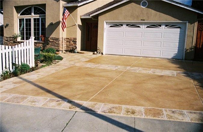 Stained driveway california rustic decorative concrete for Remove stains from concrete driveway