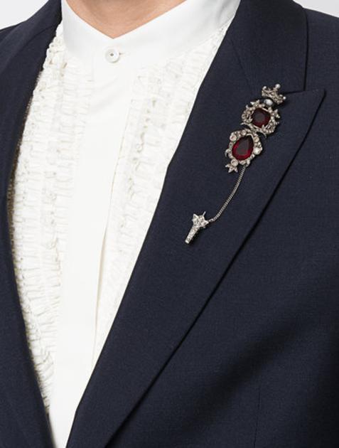 476ce9b90671 Gyazo - Alexander McQueen Jewelled Brooch - Farfetch - Google Chrome Collar  Clips, Tie Pin