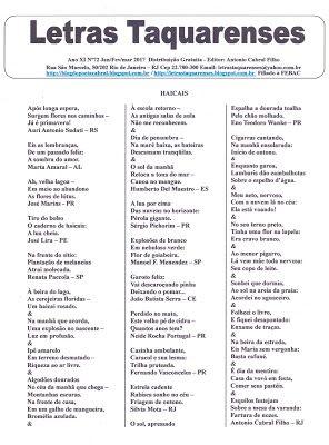 ACERVO LETRAS TAQUARENSES: Letras Taquarenses Nº 72 * Antonio Cabral Filho - ...