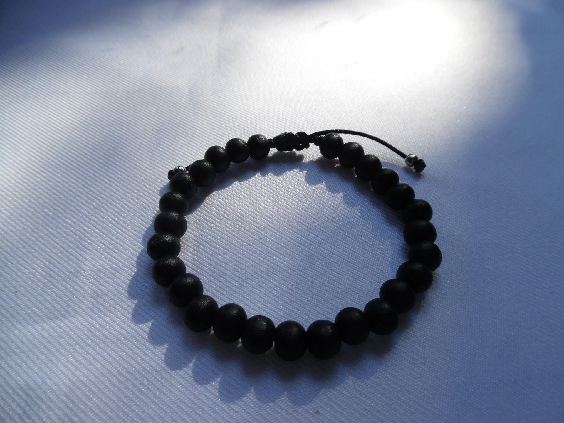 Messieurs les hommes bracelet perle noir