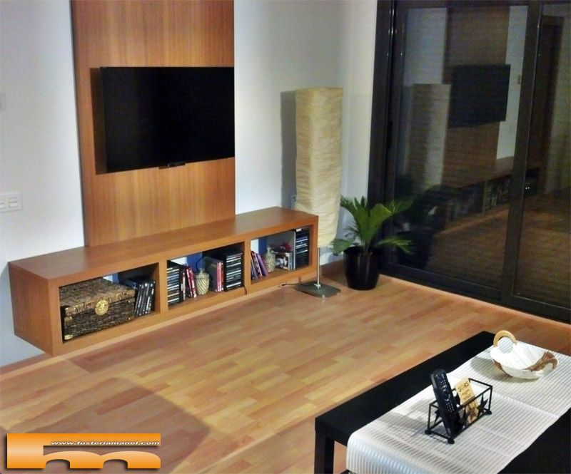 Decoracipn Salon Con Mueble Suspendido Con Panel De Pared Proyecto
