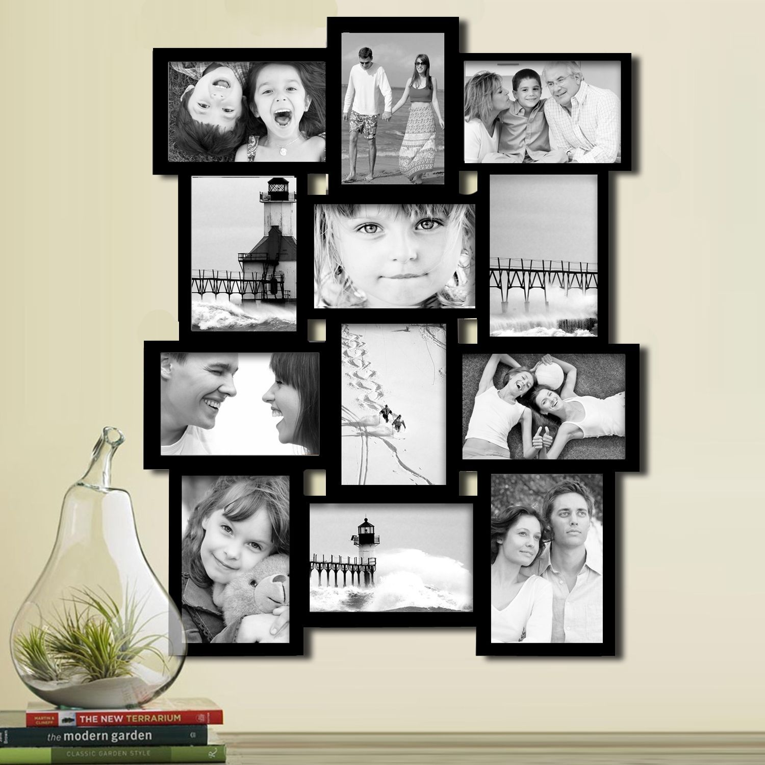 Adeco Black Wood 12 Opening Collage Photo Frame 12 Opening Black