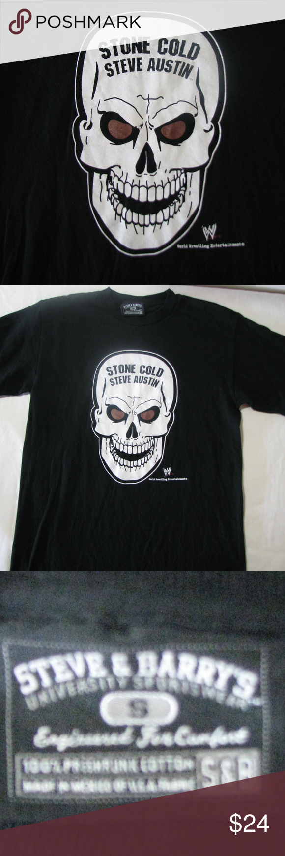 Vintage Stone Cold Steve Austin T Shirt S Vintage 90 S Stone Cold Steve Austin Wwe Skull T Shirt Steve Barry S Siz Steve Austin Stone Cold Steve T Shirt