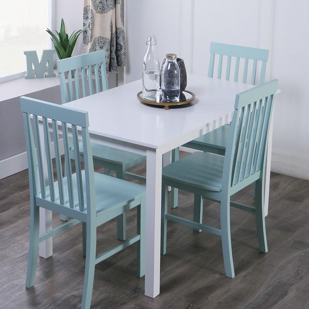 5-piece Dining Set in White and Green   Overstock.com Shopping - The ...