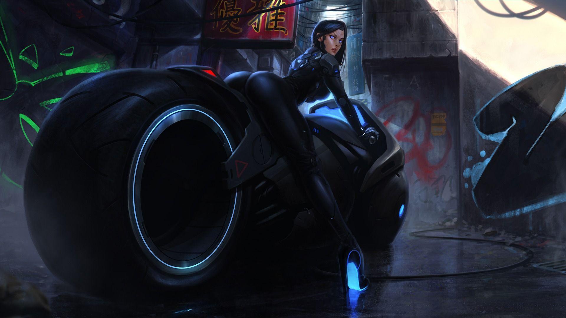 Download wallpaper girl, art, fantasy, cyberbike, bike
