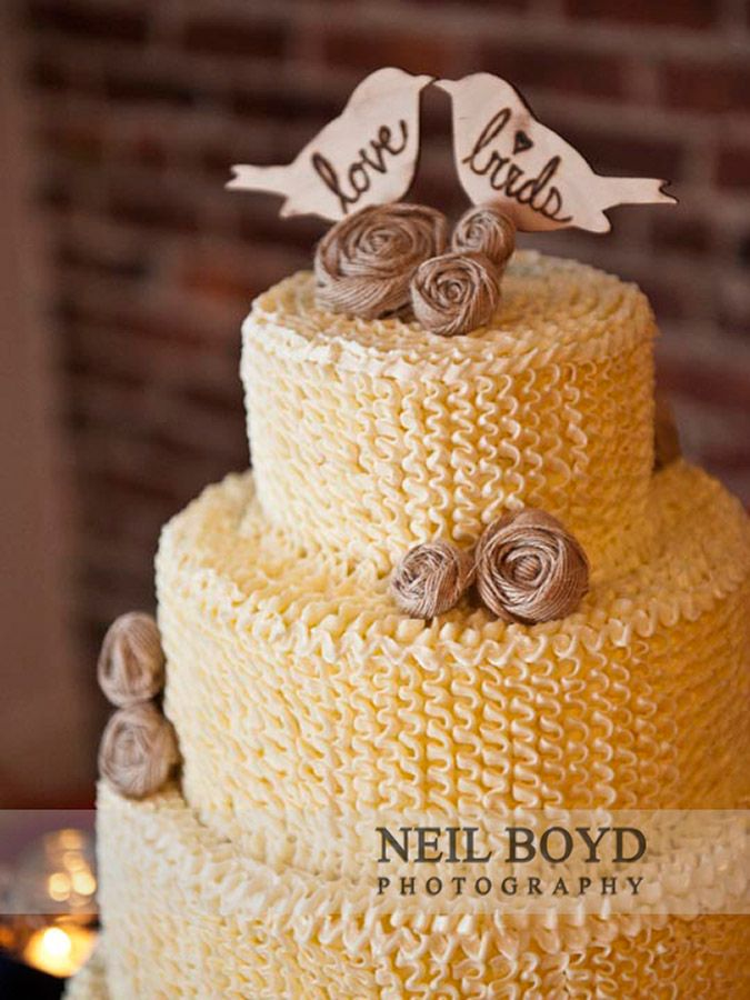 White wedding cake in Raleigh, NC with love bird wedding topper ...