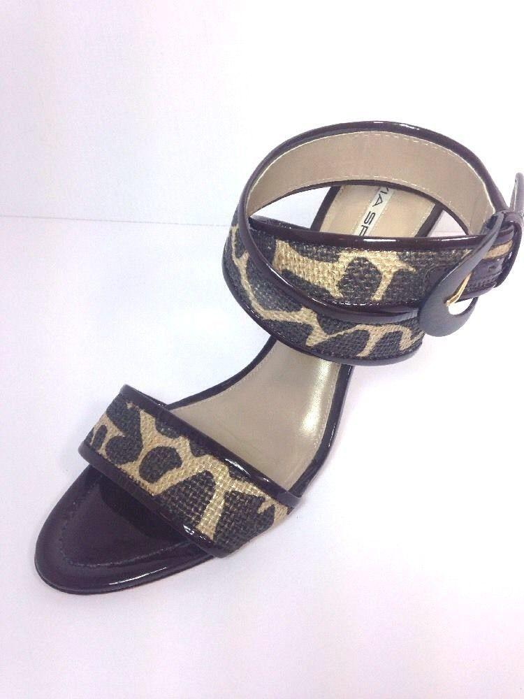 e7d4f432890 Via Spiga Ankle Strap Heels 9.5 M Animal Print Leopard Brown Patent Strappy   ViaSpiga  Strappy
