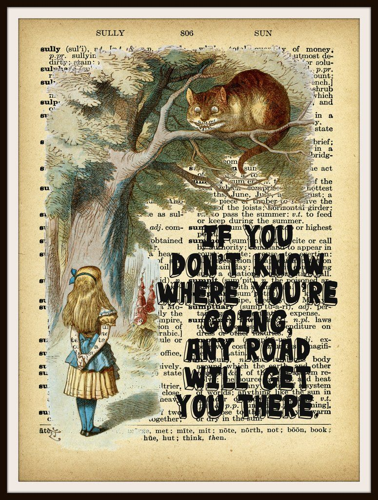 Cheshire Cat Quote Vintage Dictionary Print Wall Art Alice In Wonderland Picture