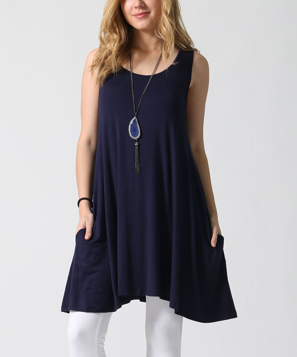 Navy Pocket Sleeveless Tunic