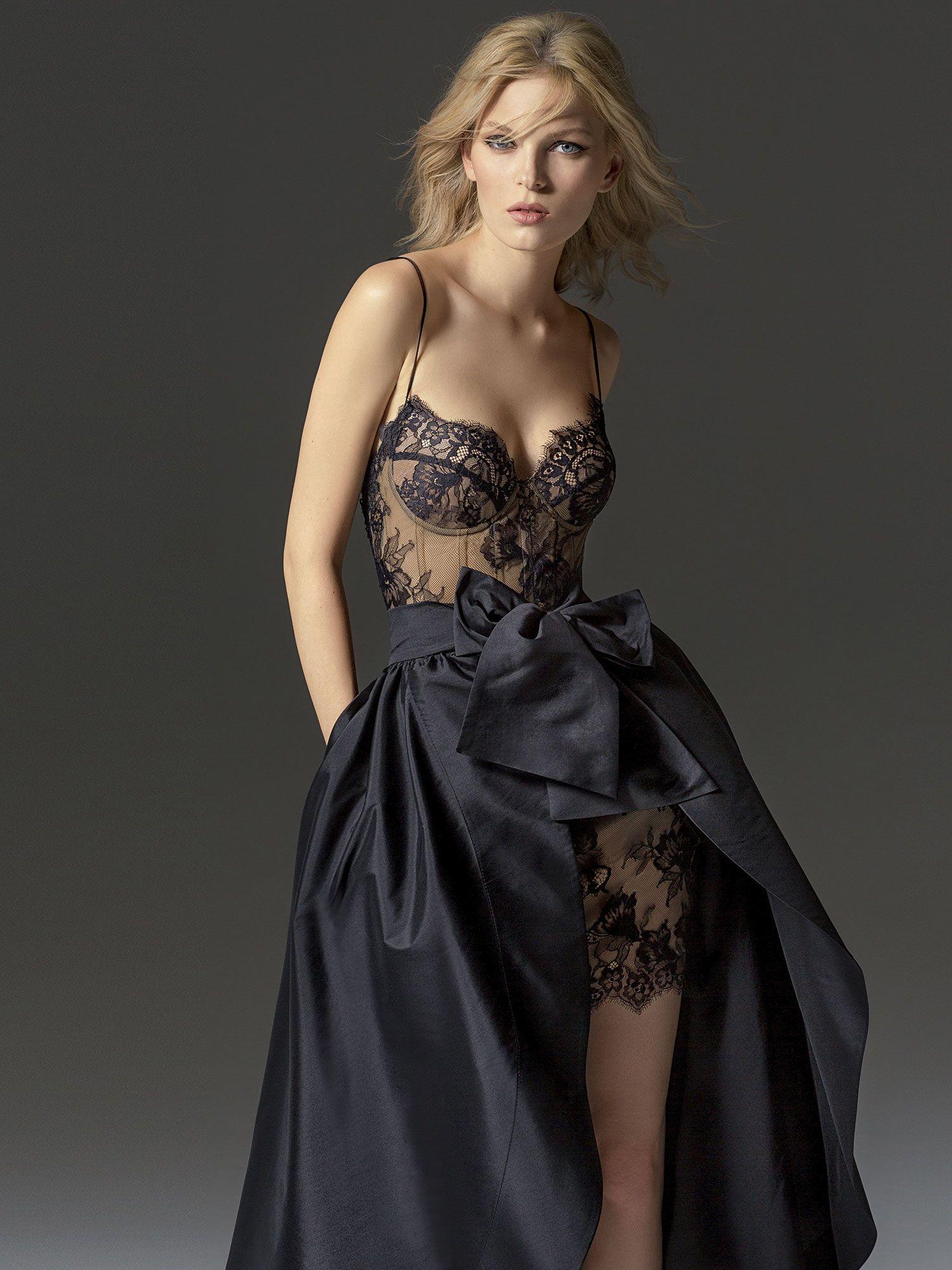 Short lace bustier dress with detachable black skirt