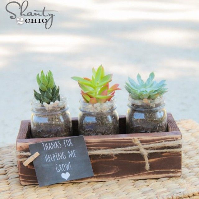 Schools out next month! Are you ready?? I have lots of kiddos which means lots of teacher gifts... Here's a fun and inexpensive teacher gift with a free printable tag!  And who doesn't love succulents?? Search teacher gift on our site for the free plans! #shanty2chic #buildrestrepeat #teachergift #endofyear