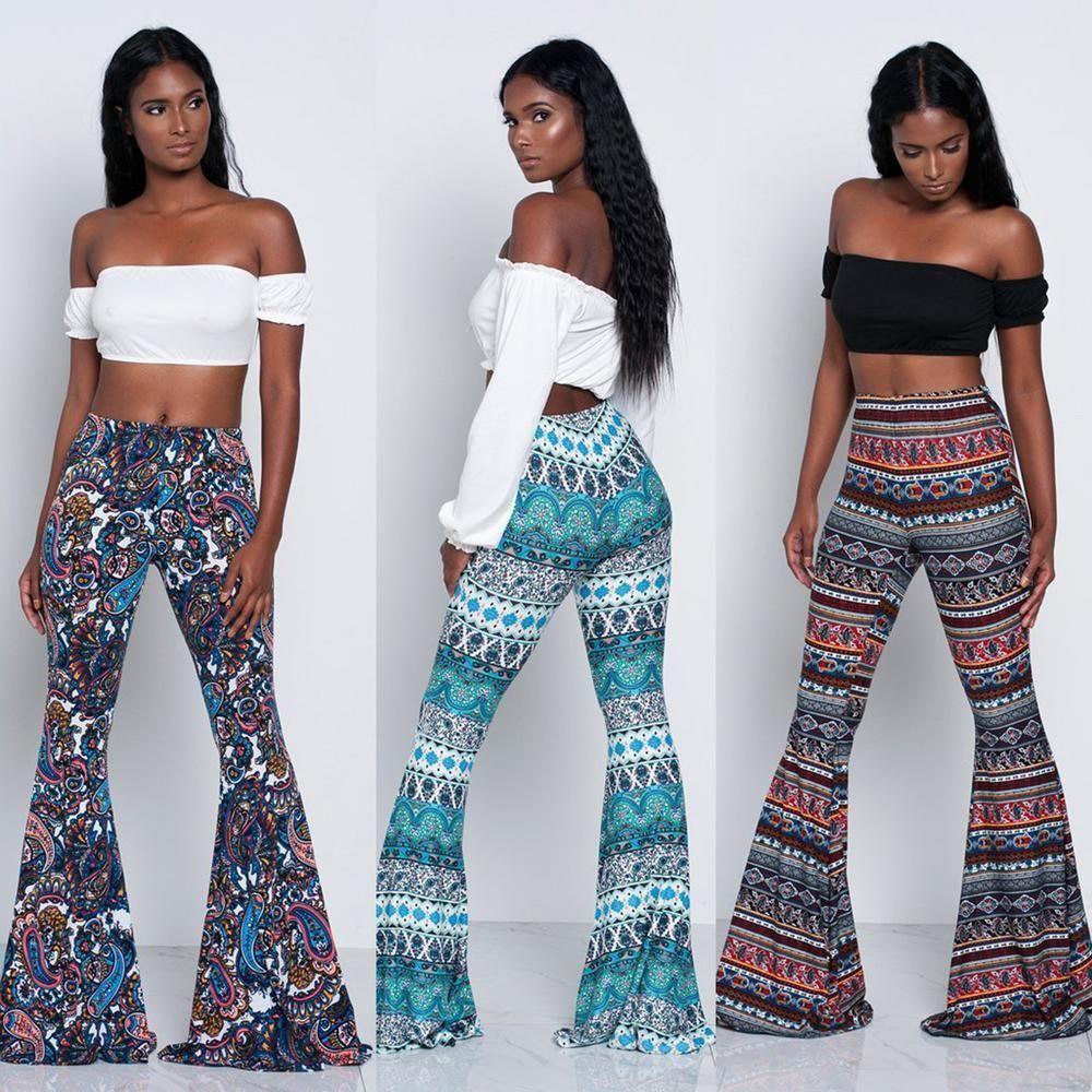 e287c6fb65c58 Women High Waist Stretch Boho Bell Bottoms Flared Long Pants Hippie Trousers   ebay  Fashion