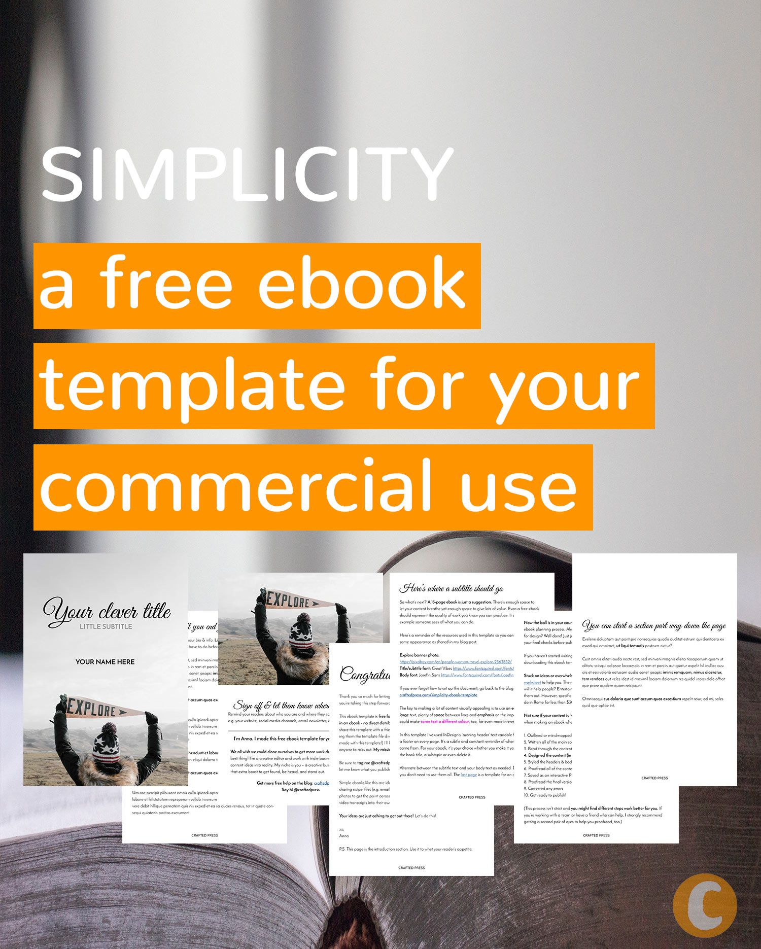 Free for commercial use ebook template | Simplicity by @craftedpress