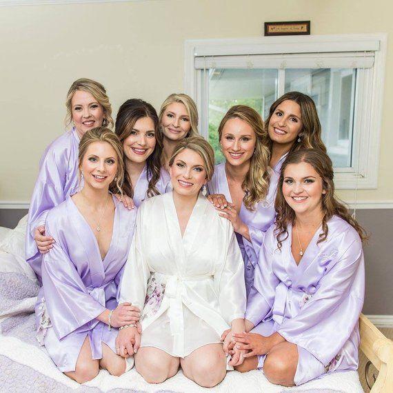bf80de8b4c Bridesmaid Robe Lavender wedding robe purple bridesmaid silk robe  personalized silk robe kimono robe