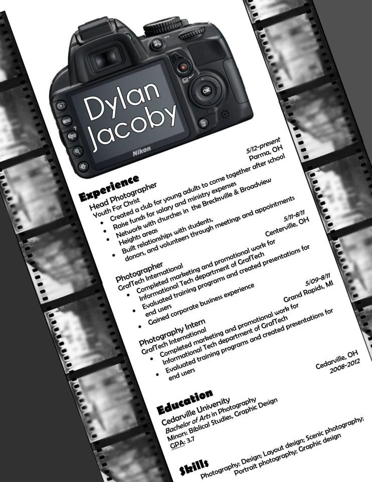 my resume design for photography  buy the template for