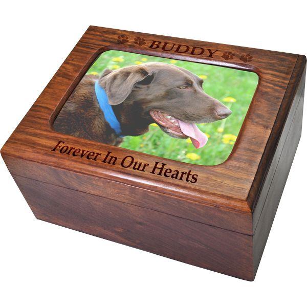 Dog memory box Personalized Memorial gifts of dogs Pet cremate box Photo engraved urn Pet keepsake box Large memory box Wooden pet urn