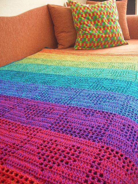 Beautiful filet #crochet rainbow heart afghan