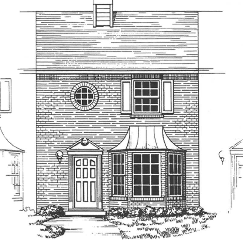 Townhouse in colonial style plan 124 1145 2 bedrooms for Multi family condo plans