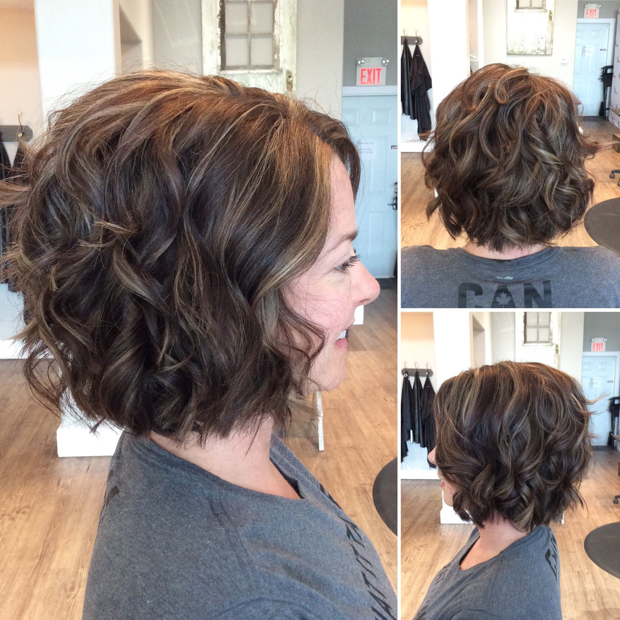 Brown ash bob with caramel highlights. Hair by @leahatstraightup | Short  curly hairstyles for women, Thick hair styles, Curly bob hairstyles