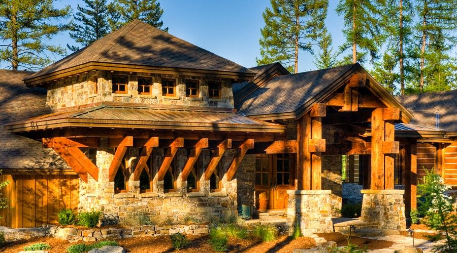 Entry Option Award Winning Western Rustic Timber U0026 Stone Mountain Home