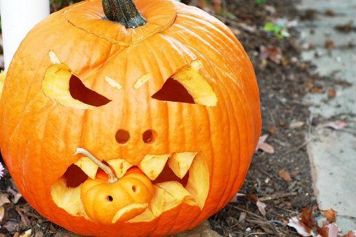 Scary or frightening Halloween jack o'lantern pumpkin eating another... | Halloween jack o lanterns. Halloween jack. Jack o lantern