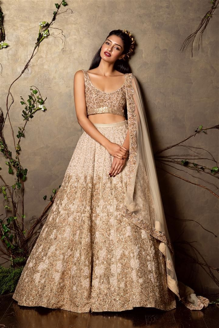 558941cf3af876 SHYAMAL & BHUMIKA A Little Romance Collection Gold Embroidered #Lehenga & # Blouse.