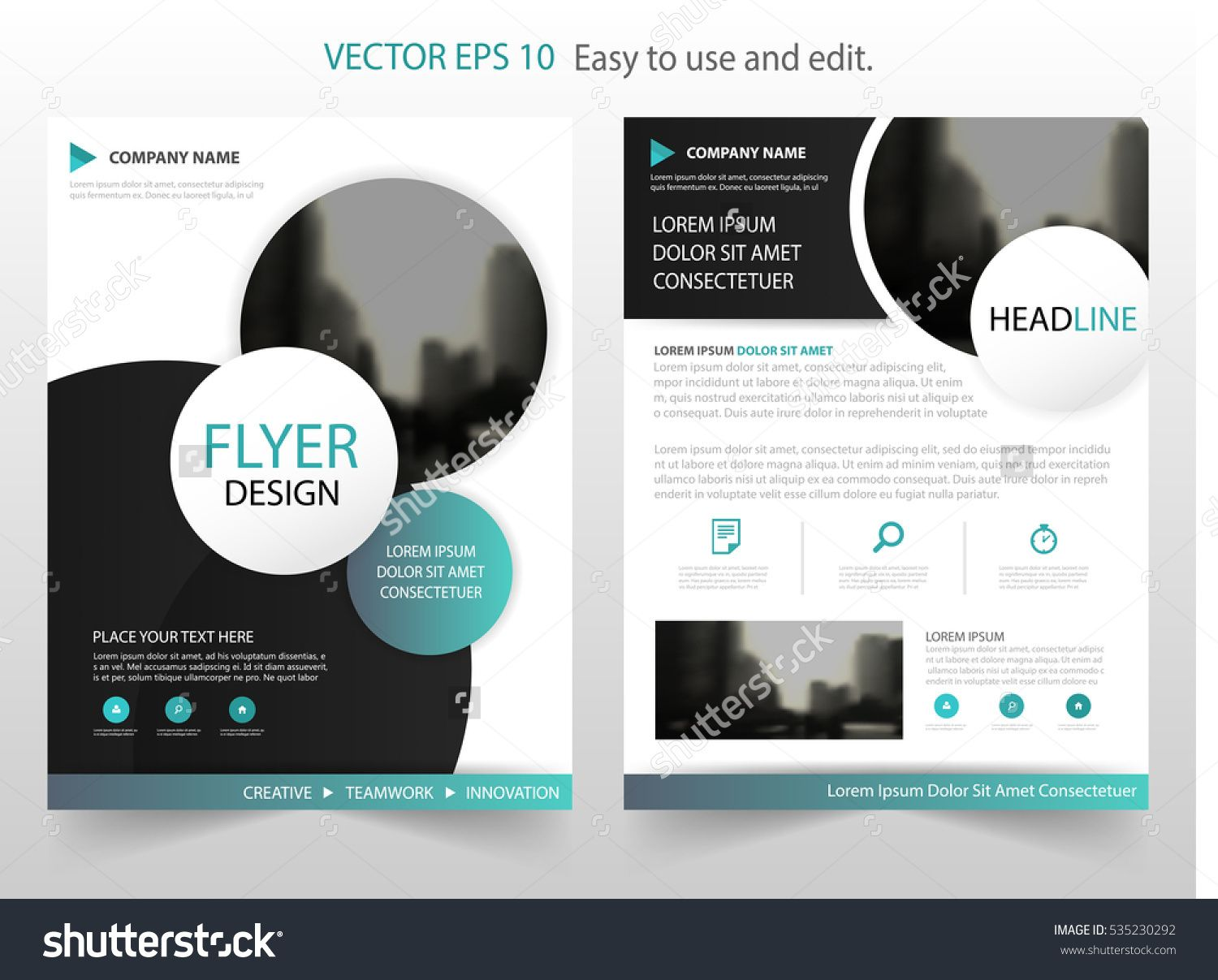 Blue Circle Vector Annual Report Leaflet Brochure Flyer Template