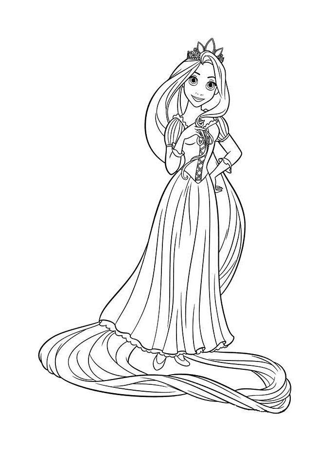 Disneyland Printable Coloring Pages 6 Animated Cartoon Disney Tangled Rapunzel Sheet