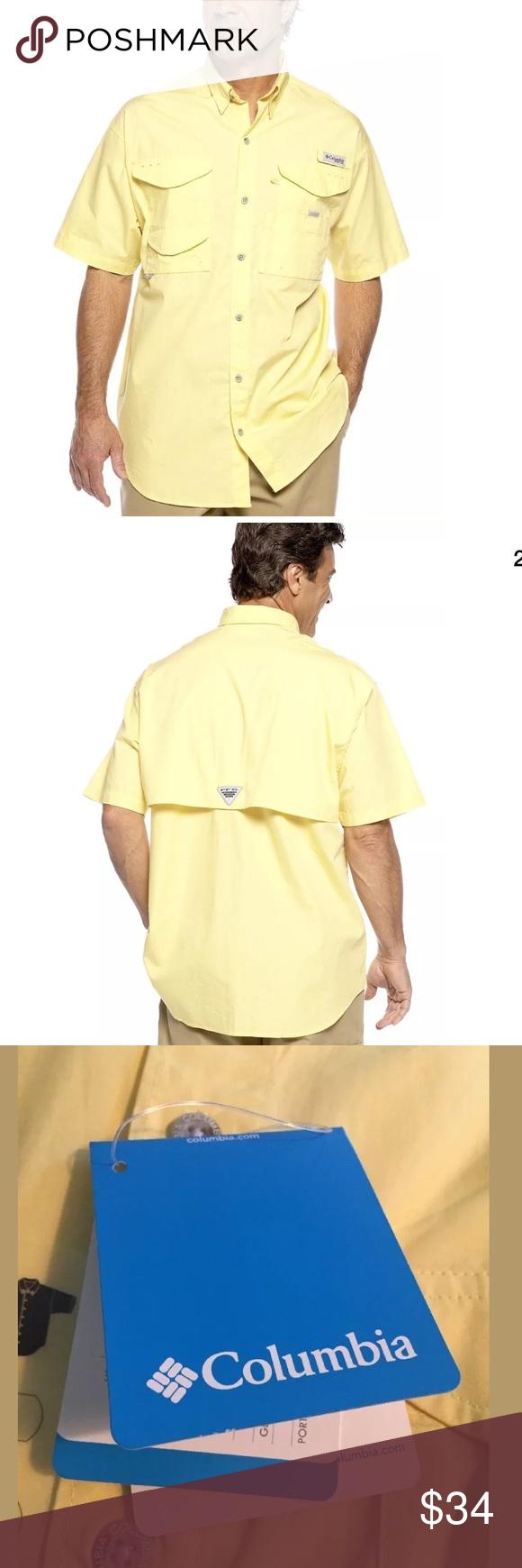 d06d12edbe6 Men's Columbia Size M Yellow PFG Shirt NEW Men's Columbia Size M Yellow PFG  Bonehead Vented