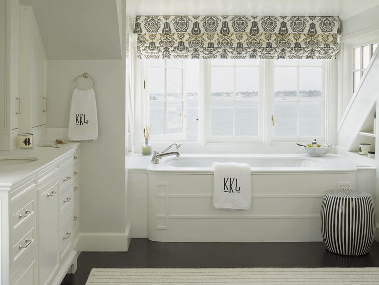 A patterned window shade adds some excitement above the white marble on black bathroom cabinets, kitchen remodeling dark cabinets, modern bathroom cabinets, contemporary dark cabinets, master bathroom cabinets, bathroom vanity corner cabinets, luxury kitchen dark cabinets, bathroom vanity sink cabinet, hardware dark cabinets, kitchen cabinets dark cabinets, small kitchen designs dark cabinets, interior design dark cabinets, bathroom shower ideas for small bathrooms, bathroom trough sink two faucets, shower curtain dark cabinets, modern kitchen dark cabinets, kitchen countertops dark cabinets, decorating dark cabinets,