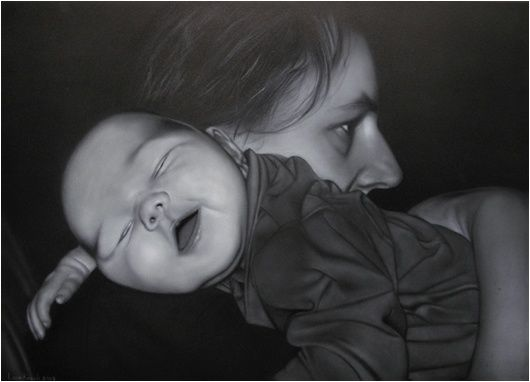 Mother and baby airbrush leonknook.com
