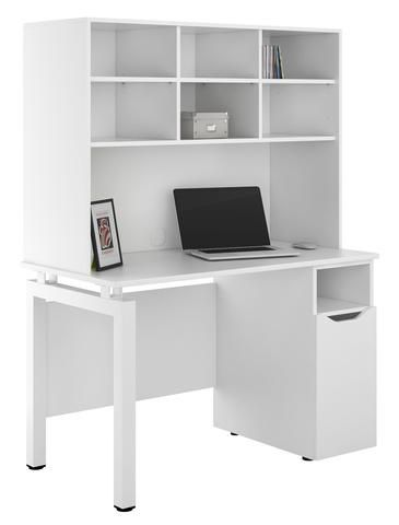 Arctic White Desk With Storage Cupboard Ideal For Home Office Use Width 1200mm Matt White Top Kit Out My With Images Computer Desk With Shelves Bookshelf Desk Desk
