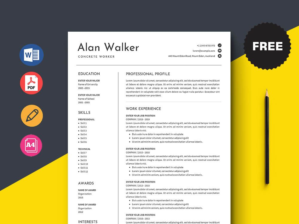 Free Concrete Worker Resume Template in 2020 Free cv