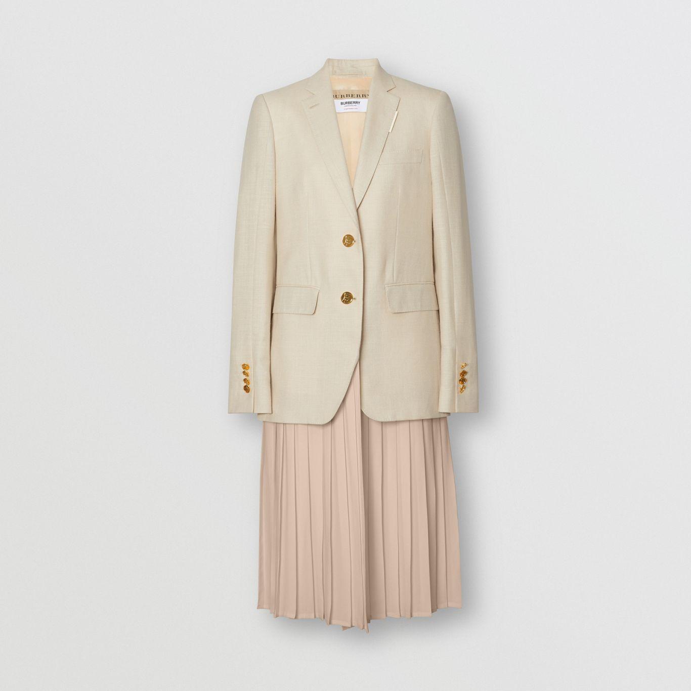 Chaqueta de vestir en lana, seda y lino con panel plisado